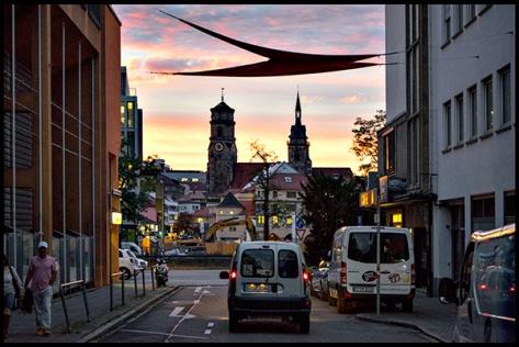 Stuttgart-2015-Dorotheenquartier-20-Druck-40x60-Rosenstrasse-zum-Dorotheenquartier-mit-Sonnenuntergang