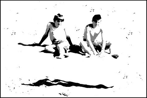 Cinque Terre 2009 2 Jungen am Strand Druck 40x60 2010_06_21 Kopie